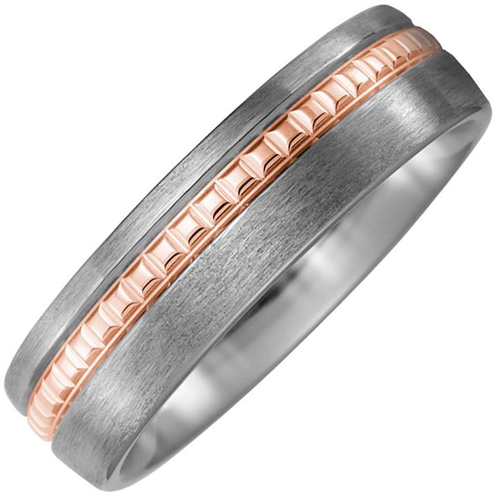 Partner Ring Titan matt mit 750 Rotgold Partnerring