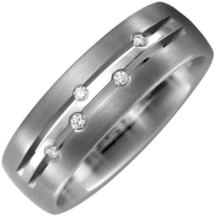 Partner Ring Titan teil matt 5 Diamanten Brillanten 0,05ct. Partnerring