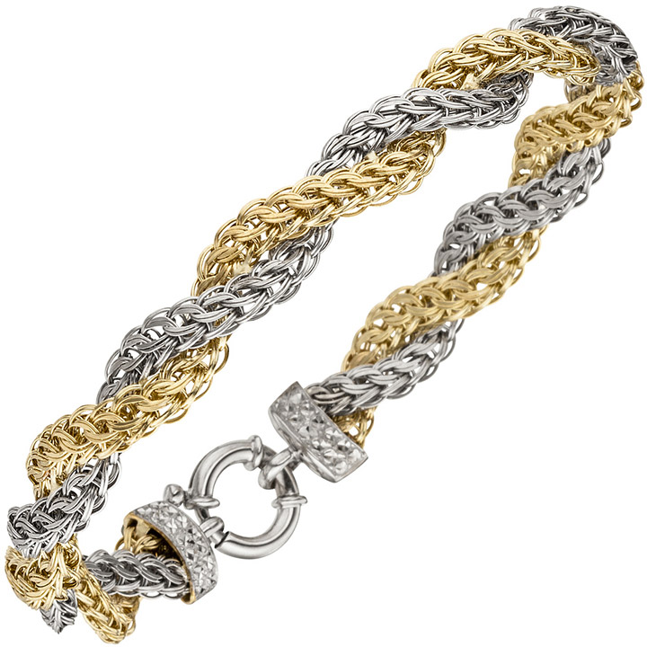 Armband 375 Gold Weißgold Gelbgold bicolor diamantiert 21 cm Goldarmband