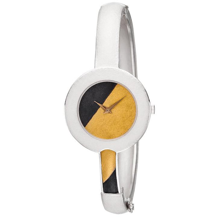 Damen Armbanduhr Spangenuhr aus 925 Sterling Silber mit 750 Gold Gelbgold