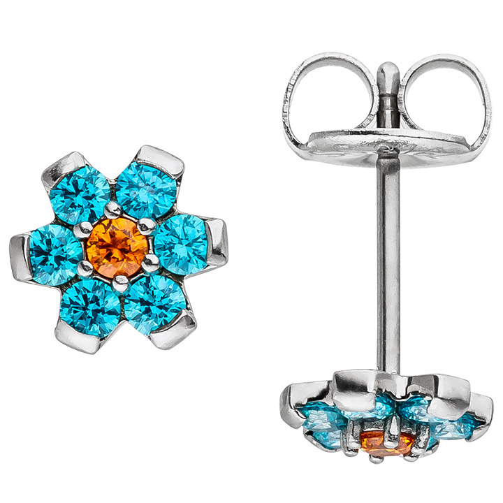 Ohrstecker Blume aus Edelstahl mit SWAROVSKI® ELEMENTS hellblau blau Ohrringe