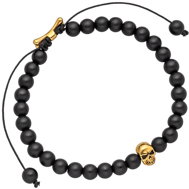 Armband Zugarmband Totenkopf mit Onyx-Perlen schwarz und Edelstahl 19,5 cm