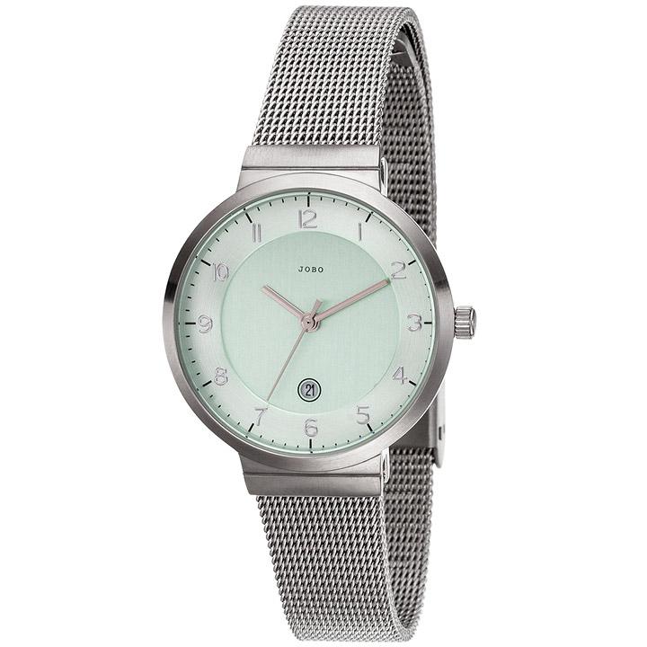Damen Armbanduhr Quarz Analog Edelstahl matt Datum Damenuhr grün