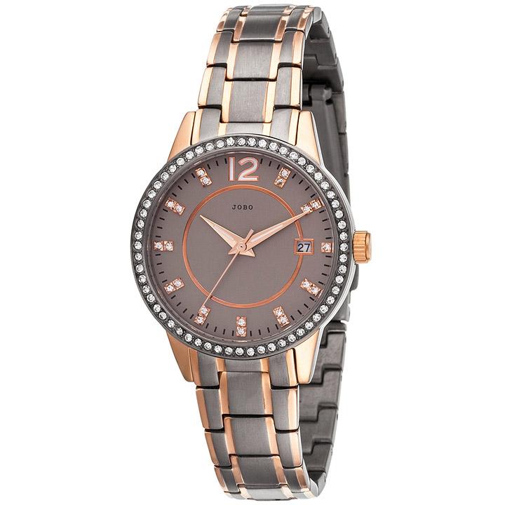 Damen Armbanduhr Quarz Analog Titan bicolor Mit SWAROVSKI® ELEMENTS Datum