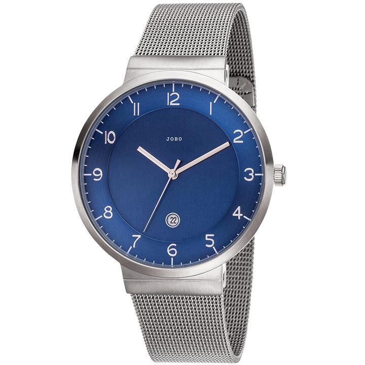 Herren Armbanduhr blau Quarz Analog Edelstahl Datum Herrenuhr