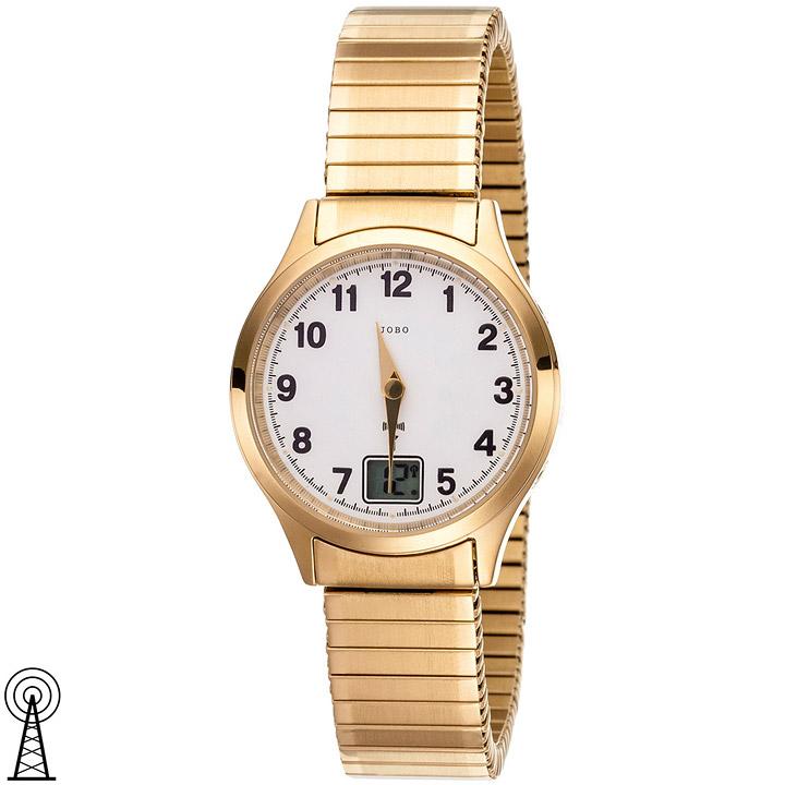 Damen Armbanduhr Funk Funkuhr Edelstahl vergoldet Flexband Datum Damenuhr