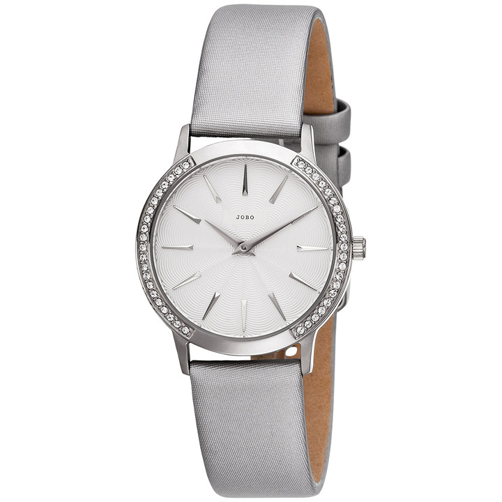 Damen Armbanduhr Quarz Edelstahl mit SWAROVSKI® ELEMENTS Lederband grau
