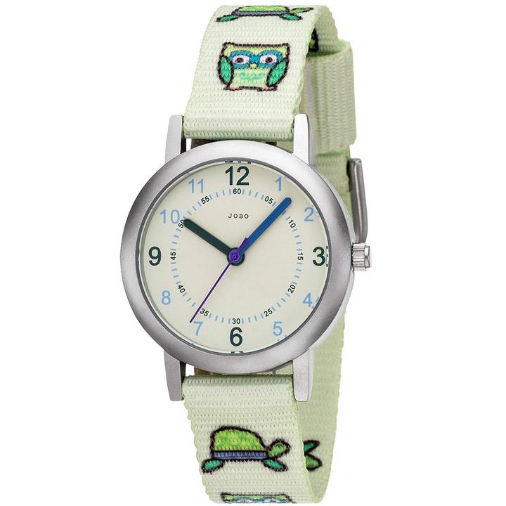 Kinder Armbanduhr Eule Eulen hellgrün grün Quarz Analog Kinderuhr