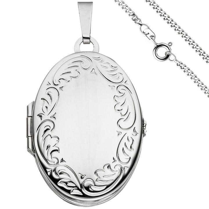 Medaillon oval Anhänger zum Öffnen für 4 Fotos 925 Silber mit Kette 60 cm