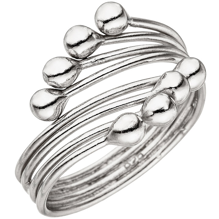 Damen Ring 4-reihig 925 Sterling Silber Silberring