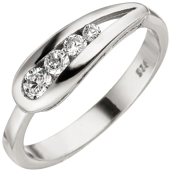 Damen Ring 925 Sterling Silber 4 Zirkonia Silberring