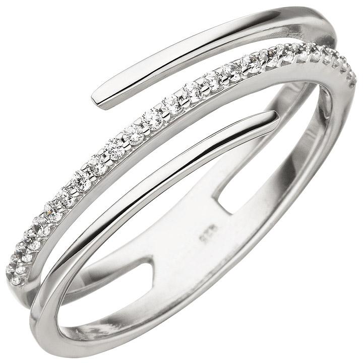Damen Ring mehrreihig 925 Sterling Silber 26 Zirkonia Silberring