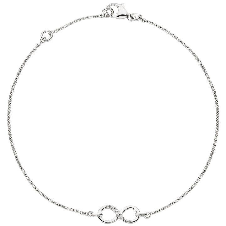 Armband Unendlichkeit 925 Sterling Silber 7 Zirkonia 19,5 cm Silberarmband