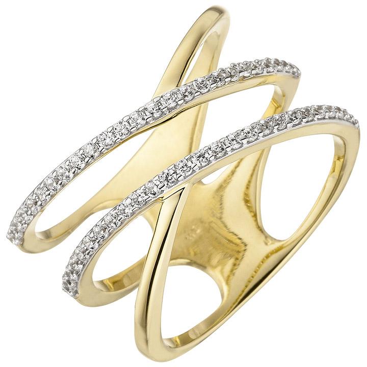 Damen Ring breit mehrreihig 375 Gold Gelbgold 52 Zirkonia Goldring