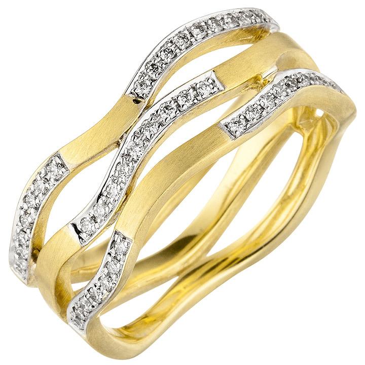Damen Ring breit 585 Gold Gelbgold matt 42 Diamanten Brillanten Goldring