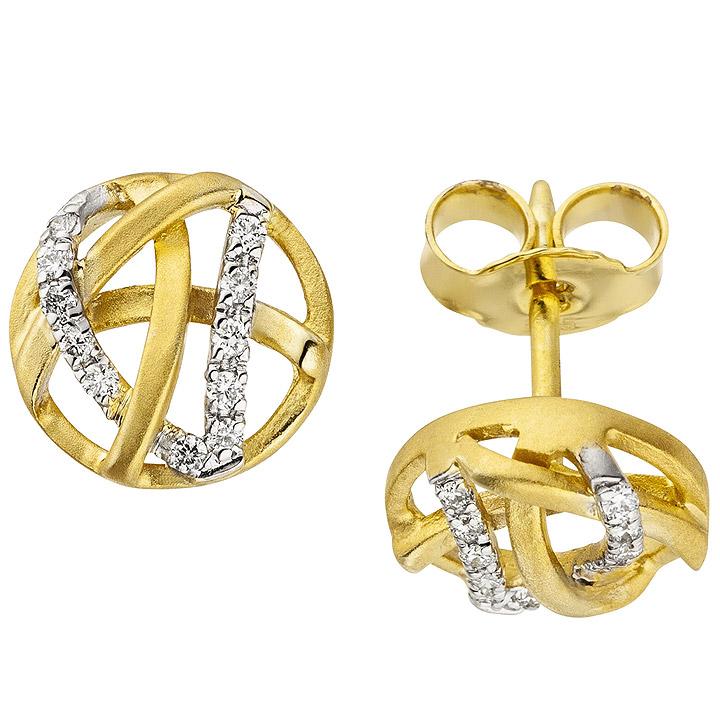 Ohrstecker 585 Gold Gelbgold matt 22 Diamanten Brillanten Ohrringe
