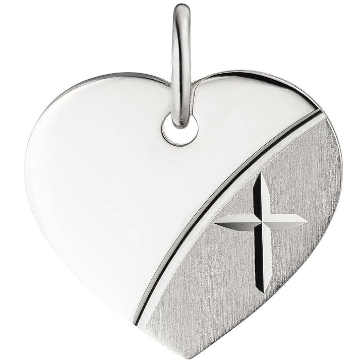 Anhänger Herz Kreuz Gravur Gravurplatte Herz 925 Silber teil matt Herzanhänger