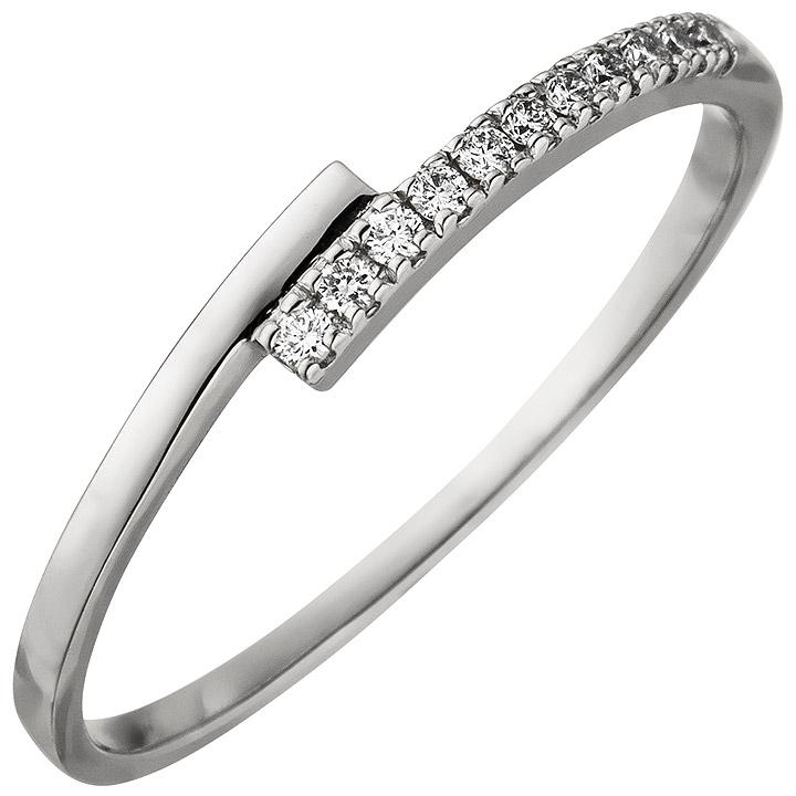 Damen Ring 585 Gold Weißgold 11 Diamanten Brillanten 0,08ct. Weißgoldring