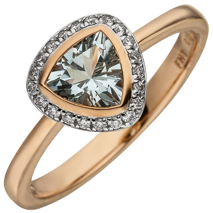 Damen Ring 585 Rotgold 21 Diamanten Brillanten 1 Aquamarin hellblau
