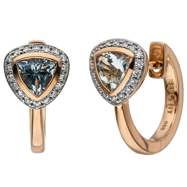 Creolen 585 Rotgold 36 Diamanten Brillanten 2 Aquamarine hellblau blau