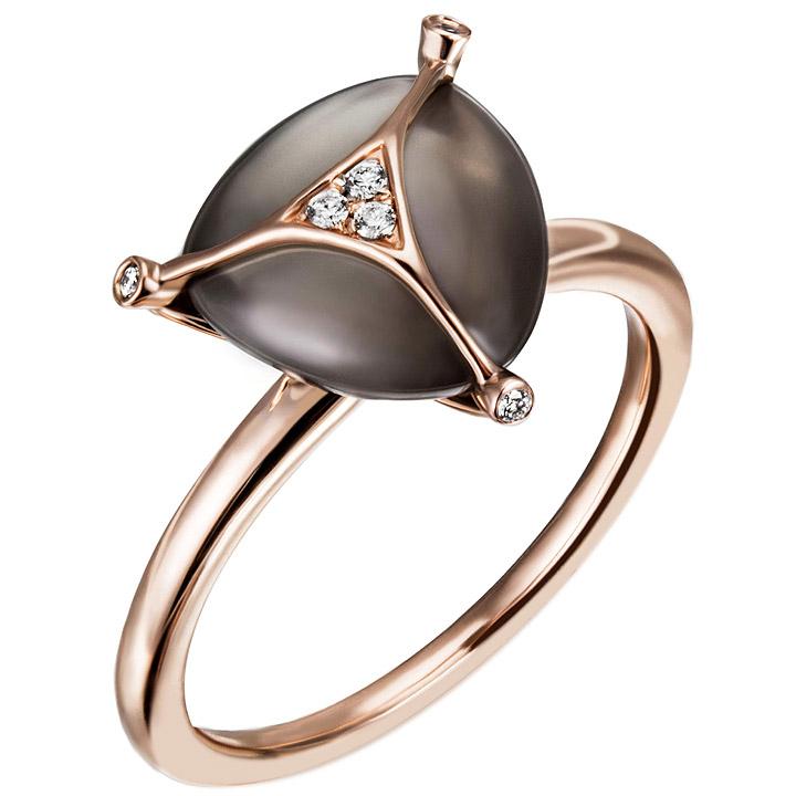 Damen Ring 585 Gold Rotgold 1 Monstein grau 6 Diamanten Brillanten Mondsteinring