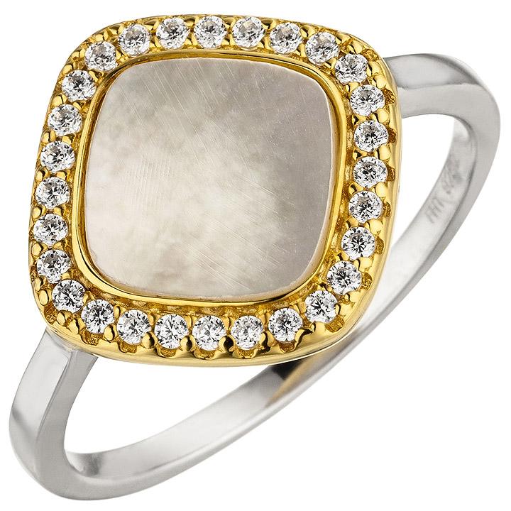 Damen Ring 925 Sterling Silber bicolor vergoldet Perlmutt 28 Zirkonia