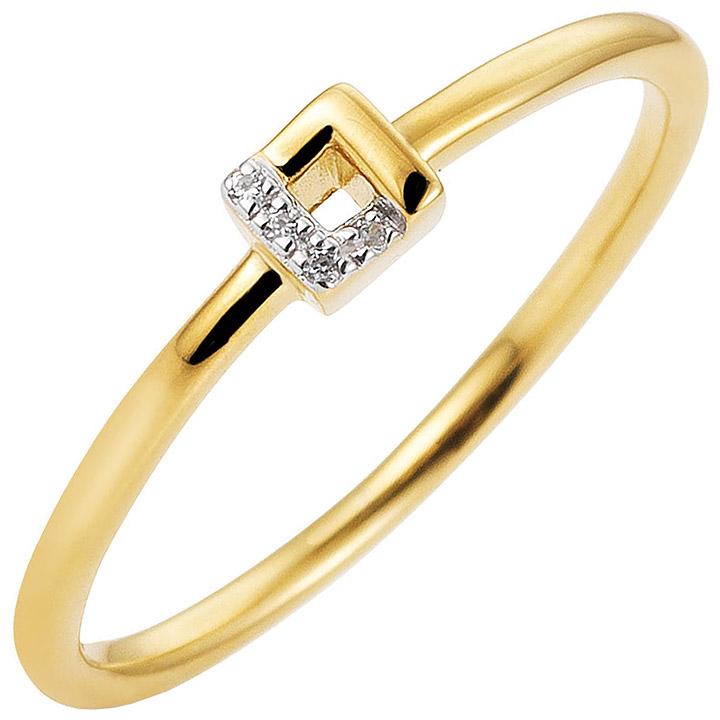 Damen Ring schmal 585 Gold Gelbgold bicolor 4 Diamanten Brillanten Goldring