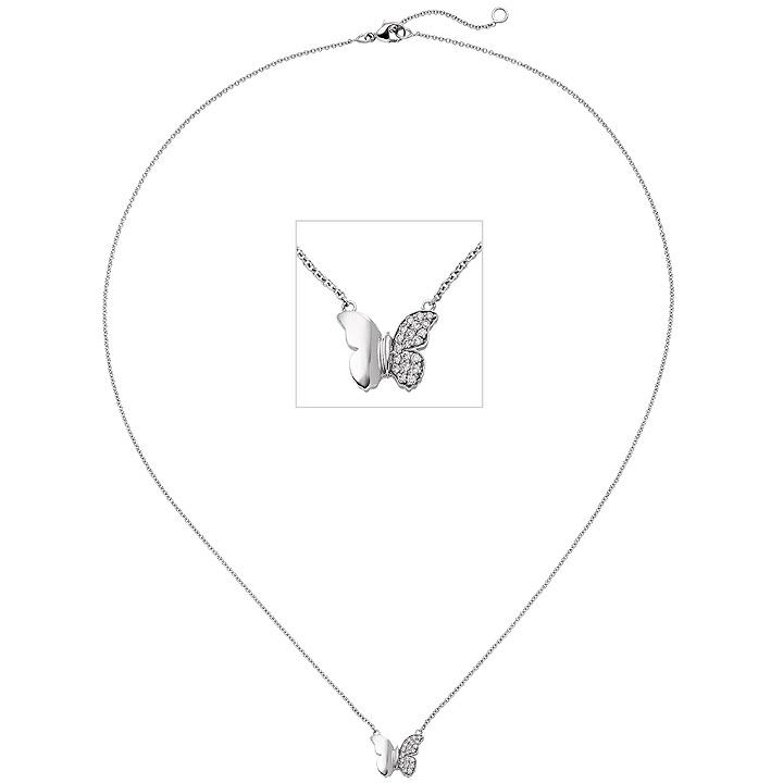 Collier Halskette Schmetterling 585 Weißgold 20 Diamanten Brillanten 45 cm Kette