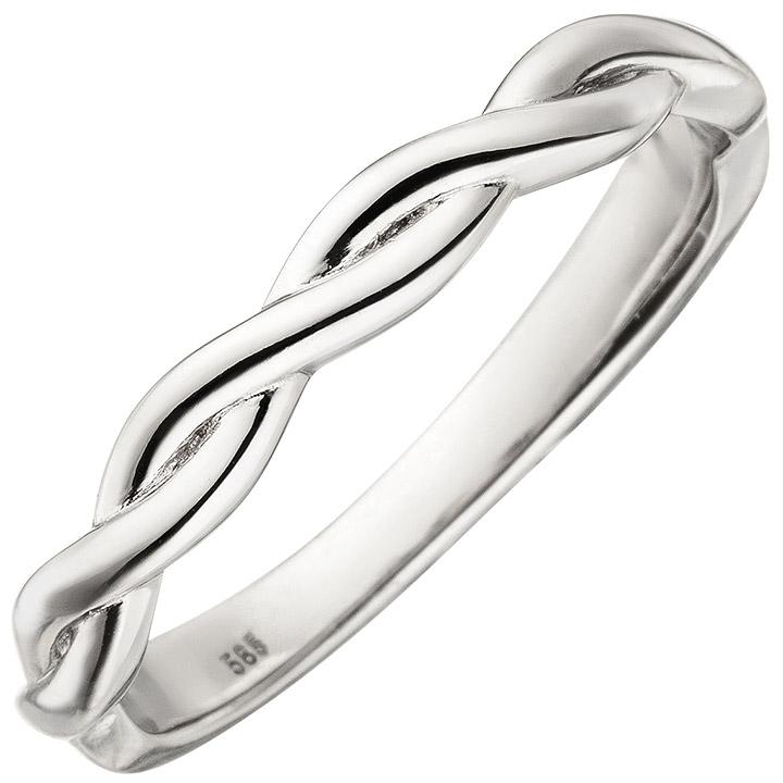 Damen Ring geflochten 585 Gold Weißgold Weißgoldring