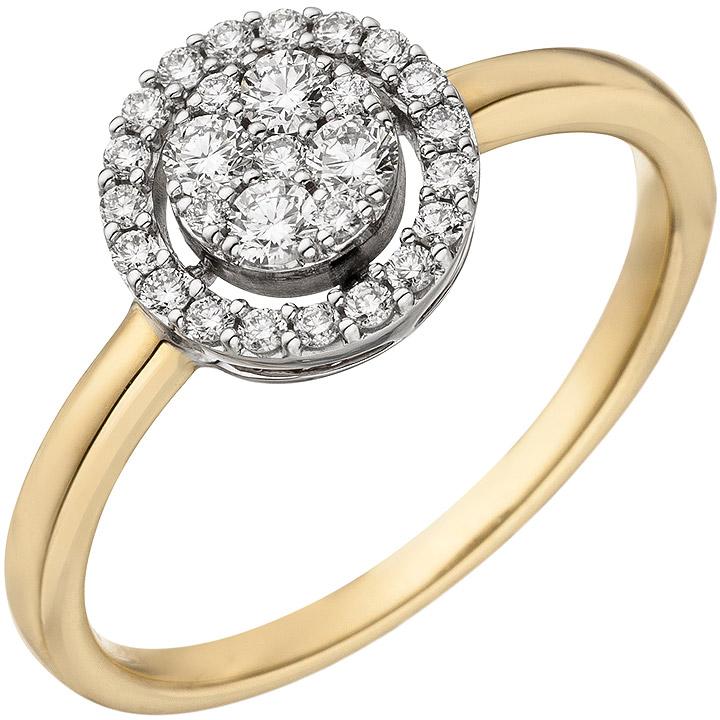 Damen Ring 585 Gold Gelbgold Weißgold bicolor 28 Diamanten Brillanten Goldring