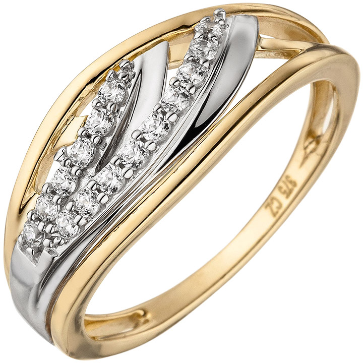 Damen Ring 375 Gold Gelbgold bicolor 15 Zirkonia Goldring