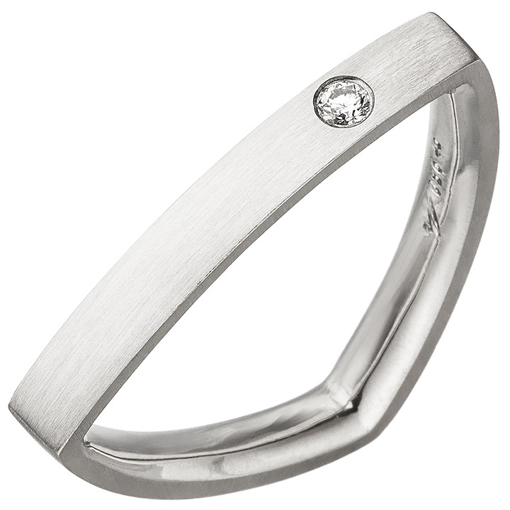 Damen Ring dreieckig Dreieck 950 Platin matt 1 Diamant Brillant Platinring