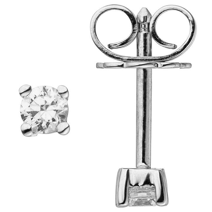 Ohrstecker 585 Gold Weißgold 2 Diamanten Brillanten 0,24 ct. Ohrringe