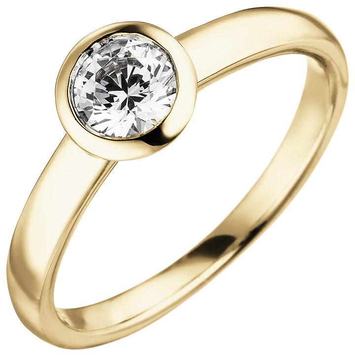 Damen Ring 585 Gold Gelbgold 1 Diamant Brillant 0,50 ct. Diamantring Solitär