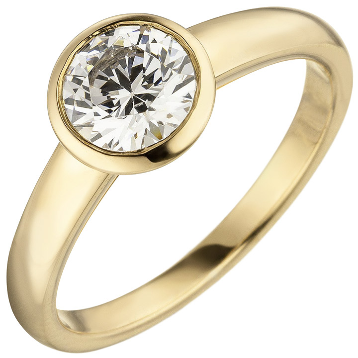 Damen Ring 585 Gold Gelbgold 1 Diamant Brillant 1,0 ct. Diamantring Solitär