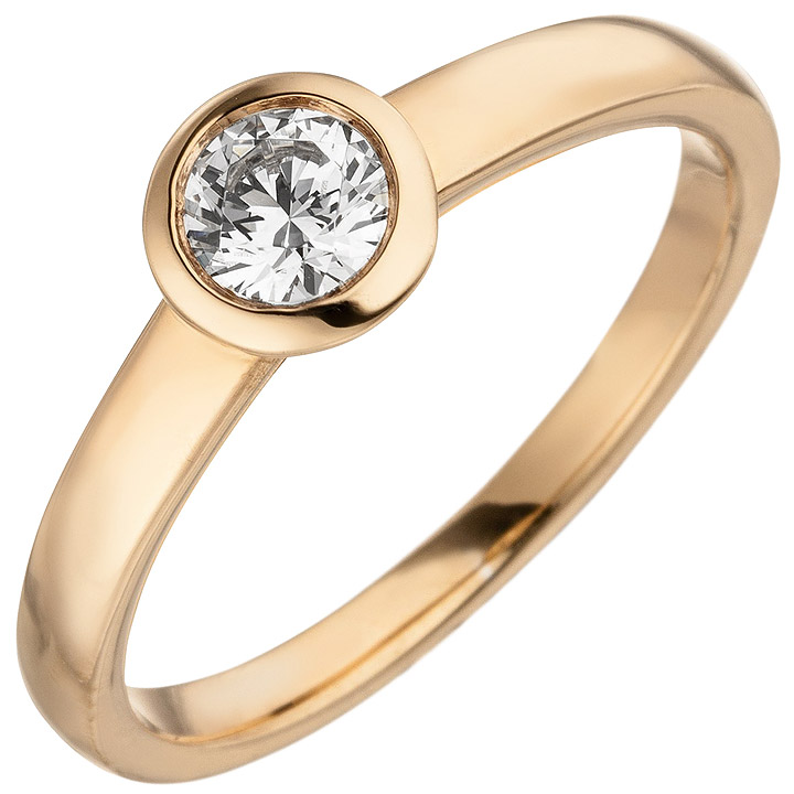 Damen Ring 585 Gold Rotgold 1 Diamant Brillant 0,15 ct. Diamantring Solitär