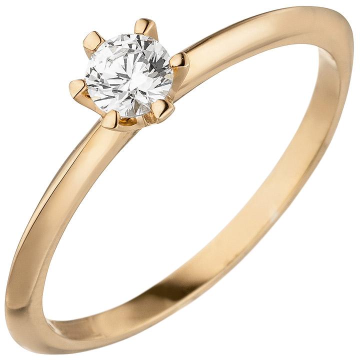 Damen Ring 585 Gold Rotgold 1 Diamant Brillant 0,25 ct. Diamantring Solitär