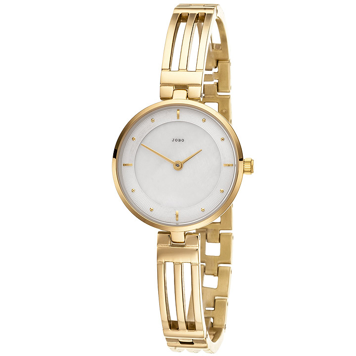 Damen Armbanduhr Quarz Analog Edelstahl vergoldet Damenuhr