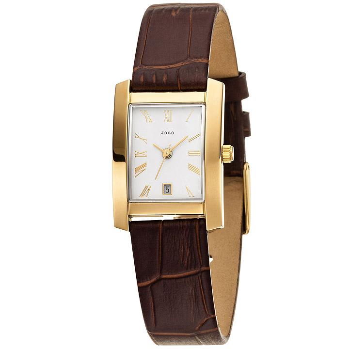 Damen Armbanduhr Quarz Analog Edelstahl vergoldet Lederband braun Datum