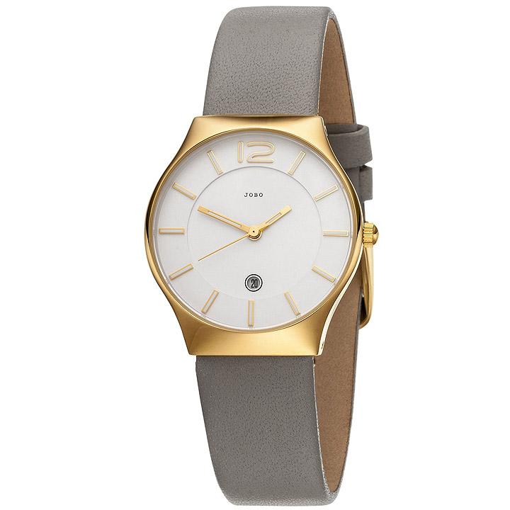 Damen Armbanduhr Quarz Analog Edelstahl vergoldet Lederband taupe Datum