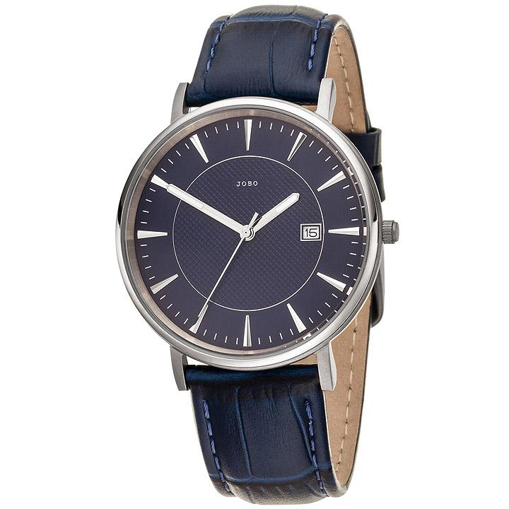 Herren Armbanduhr Quarz Analog Titan Lederband blau Datum Herrenuhr