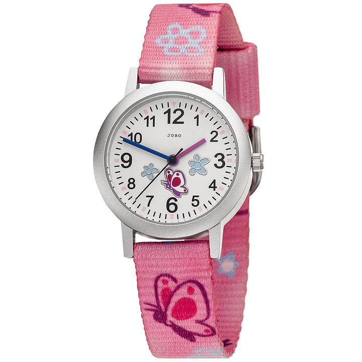 Kinder Armbanduhr Schmetterling pink rosa Quarz Analog Aluminium Kinderuhr