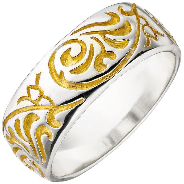 Damen Ring 925 Sterling Silber bicolor vergoldet Silberring