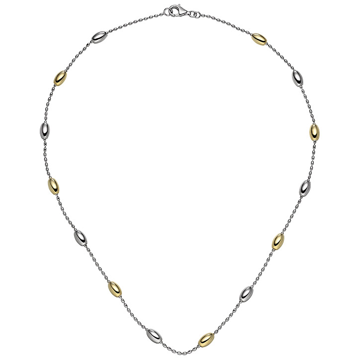 Collier Halskette 925 Sterling Silber bicolor vergoldet 45 cm Kette Silberkette