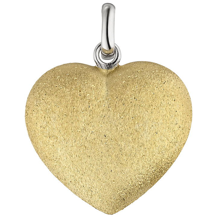 Anhänger Herz 925 Sterling Silber bicolor vergoldet eismatt Herzanhänger