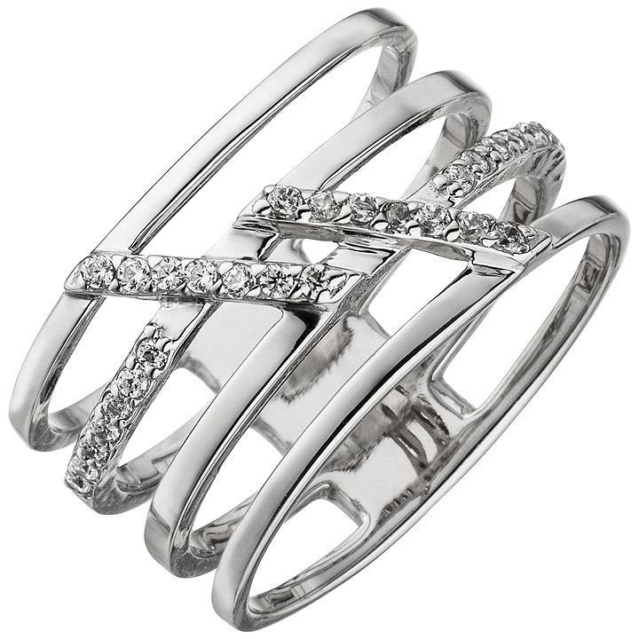 Damen Ring 4-reihig breit 925 Sterling Silber 28 Zirkonia Silberring