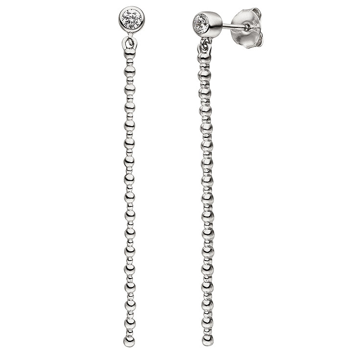 Ohrhänger 925 Sterling Silber 2 Zirkonia Ohrringe Ohrstecker Silberohrringe