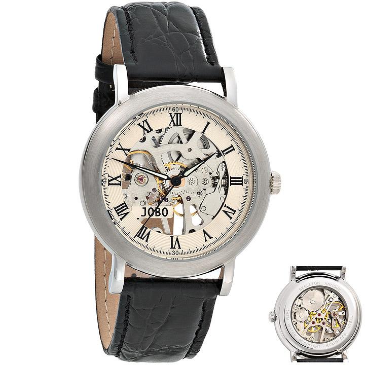 Herren Armbanduhr Handaufzug Skelett-Werk Glasboden