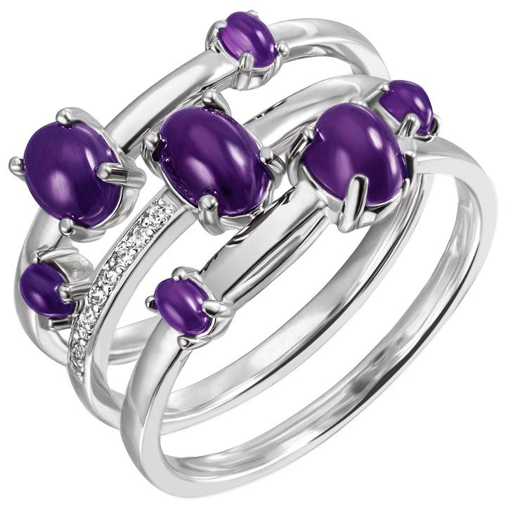 Damen Ring breit 925 Sterling Silber 7 Amethyst-Cabochons lila 9 Zirkonia