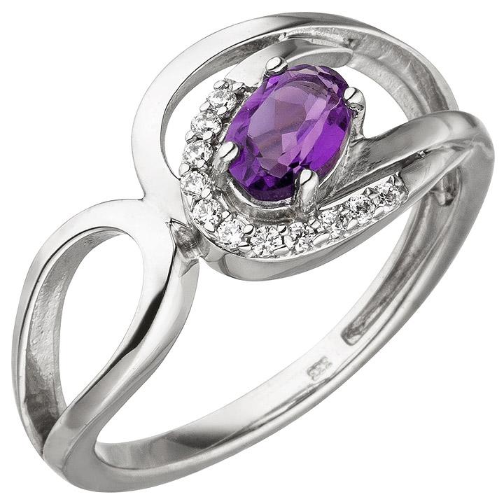 Damen Ring 333 Gold Weißgold 11 Zirkonia 1 Amethyst lila violett Weißgoldring